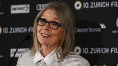Diane Keaton Matches Her Mani to Her Striped Ensemble