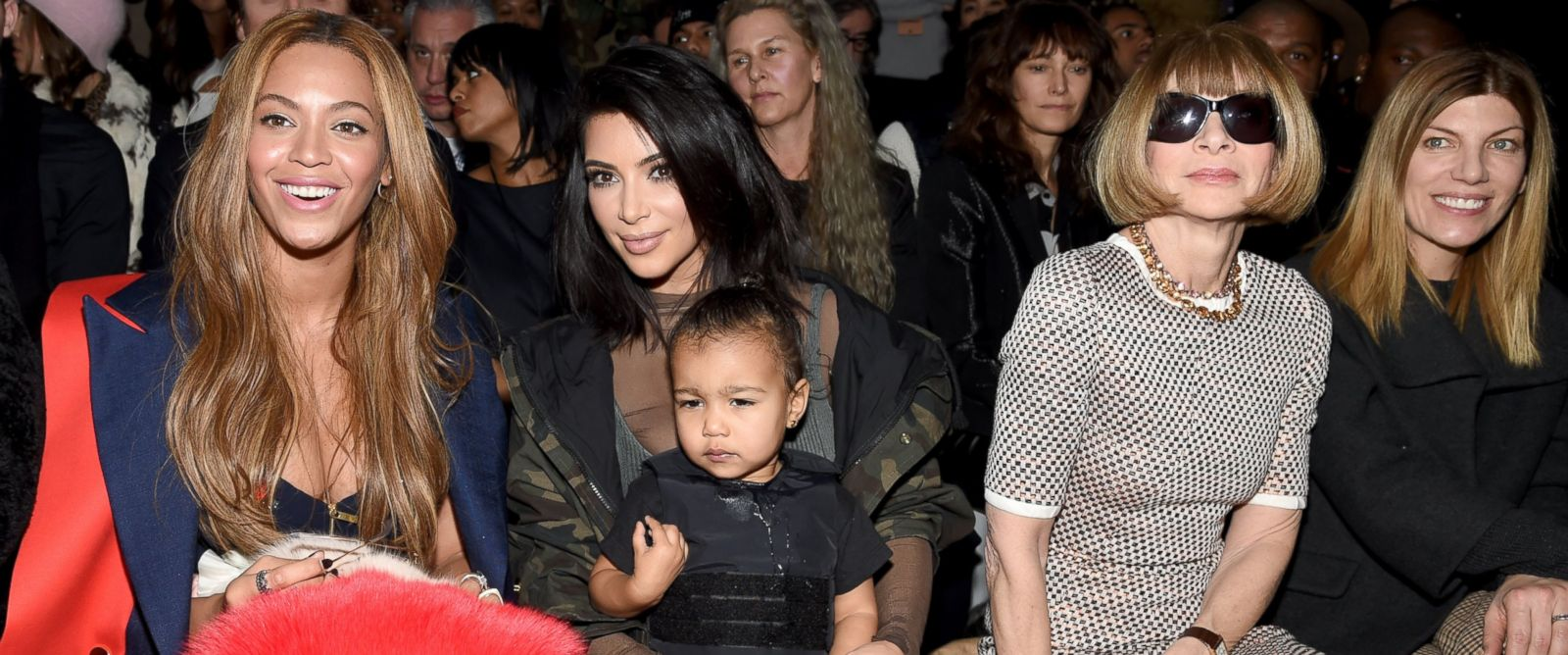 PHOTO: Beyonce, Kim Kardashian with daughter North and Anna Wintour attend the adidas Originals x Kanye West YEEZY SEASON 1 fashion show during New York Fashion Week Fall 2015 at Skylight Clarkson Sq., Feb. 12, 2015, in New York.