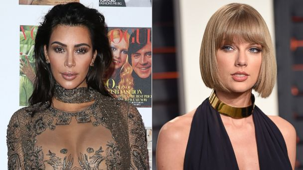PHOTO: (L-R) Pictured are Kim Kardashian in London, May 23, 2016 and Taylor Swift in Beverly Hills, California, Feb. 28, 2016.