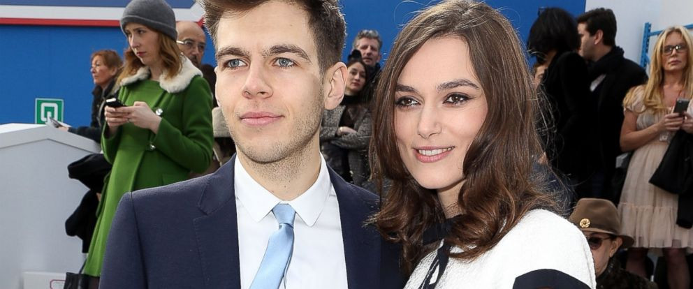 PHOTO: James Righton, left, and Keira Knightley, right, are pictured on March 4, 2014 in Paris, France.