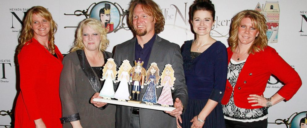 """PHOTO: Cast of TLCs """"Sister Wives"""" Christine Brown, Janelle Brown, Kody Brown, Robyn Brown and Meri Brown attend the Nevada Ballet Theatres Production of """"The Nutcracker"""" at the Smith Center, Dec. 15, 2012, in Las Vegas."""