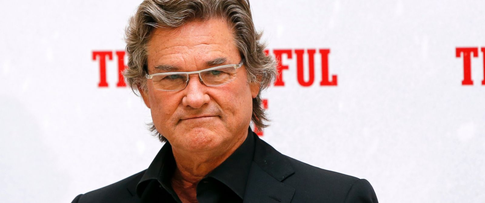 "PHOTO: Kurt Russell poses during a photo call for the presentation of the movie ""The Hateful Eight."""