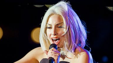 PHOTO: Musician Lady Gaga sings the Star-Spangled Banner at The Rally during NYC Pride 2013, June 28, 2013 in New York.