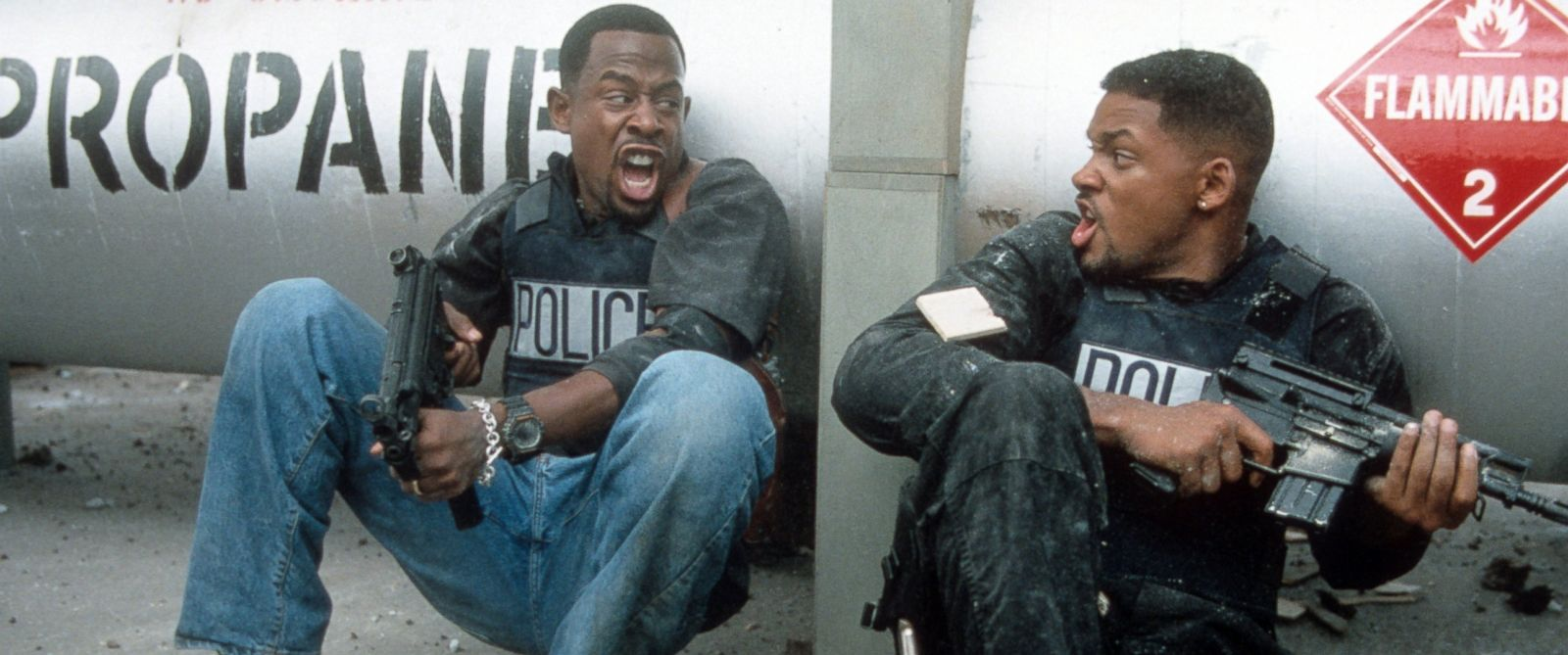 PHOTO: Martin Lawrence and Will Smith defend themselves in a scene from the film Bad Boys, 1995.