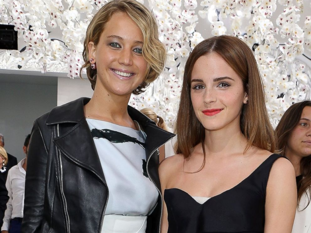 ... See Photos! Jennifer Lawrence and Emma Watson Goof Off at Fashion Week