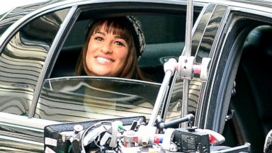 Lea Michele Glows While Filming Glee