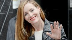 Leslie Mann Waves Hello in NYC
