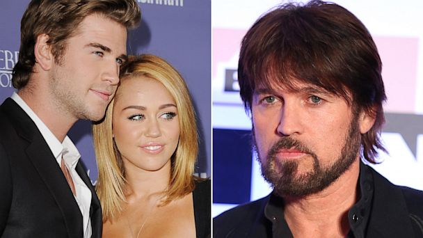 PHOTO: Left, Liam Hemsworth and Miley Cyrus pictured in in Century City, Calif., June 27, 2012. Right, Billy Ray Cyrus in Phoenix, March 23, 2013.