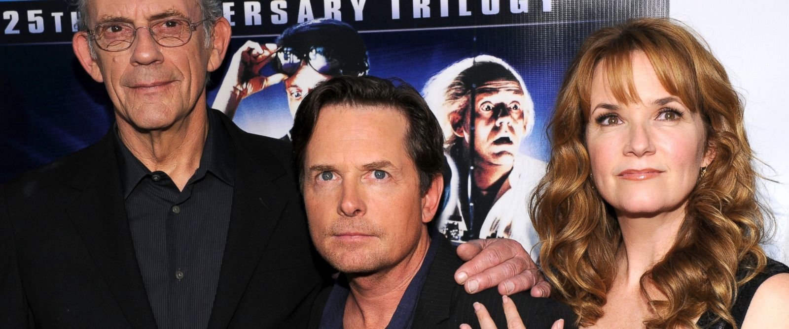 "PHOTO: Christopher Lloyd, Michael J. Fox and Lea Thompson attend the ""Back to the Future"" 25th anniversary trilogy Blu-Ray release at Gustavinos, Oct. 25, 2010 in New York City."