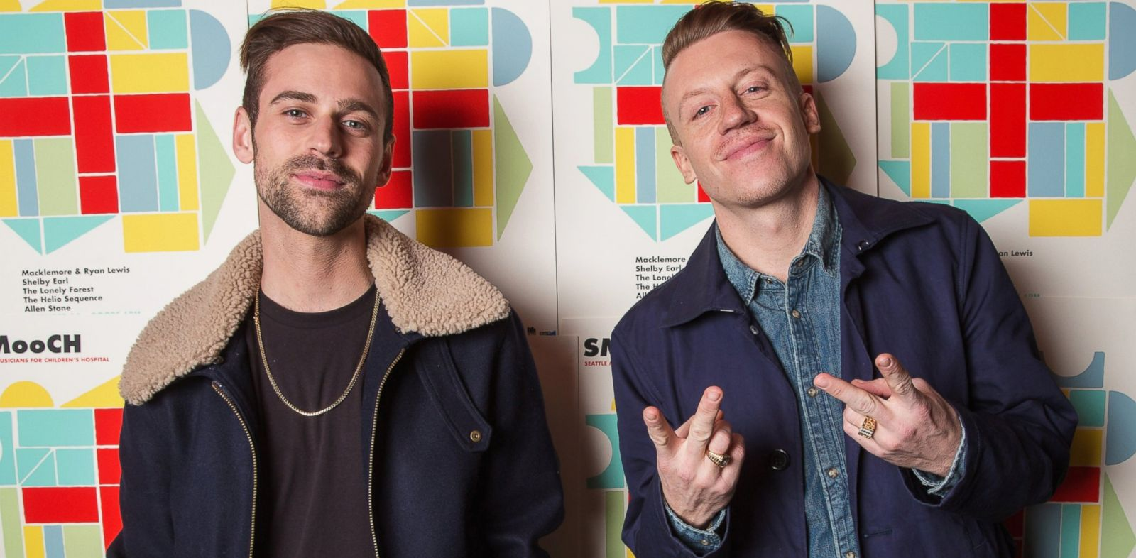 PHOTO: Ryan Lewis, left, and Macklemore pose backstage during the Seattle Musicians for Childrenâ??s Hospital benefit at The Showbox Market, Dec. 14, 2013, in Seattle.