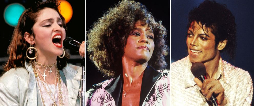 PHOTO: From left, Madonna, Whitney Houston and Michael Jackson