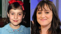 PHOTO: Mara Wilson in 1990, and on the Katie show June 3, 2013.