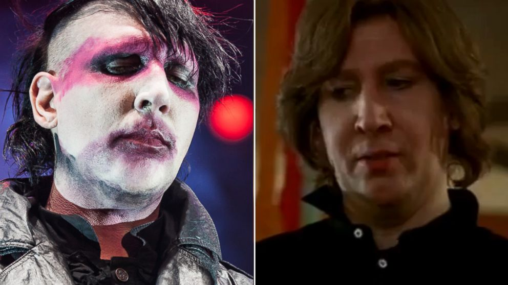"PHOTO: At left, Marilyn Manson in 2012. At right, in ""Eastbound & Down."""