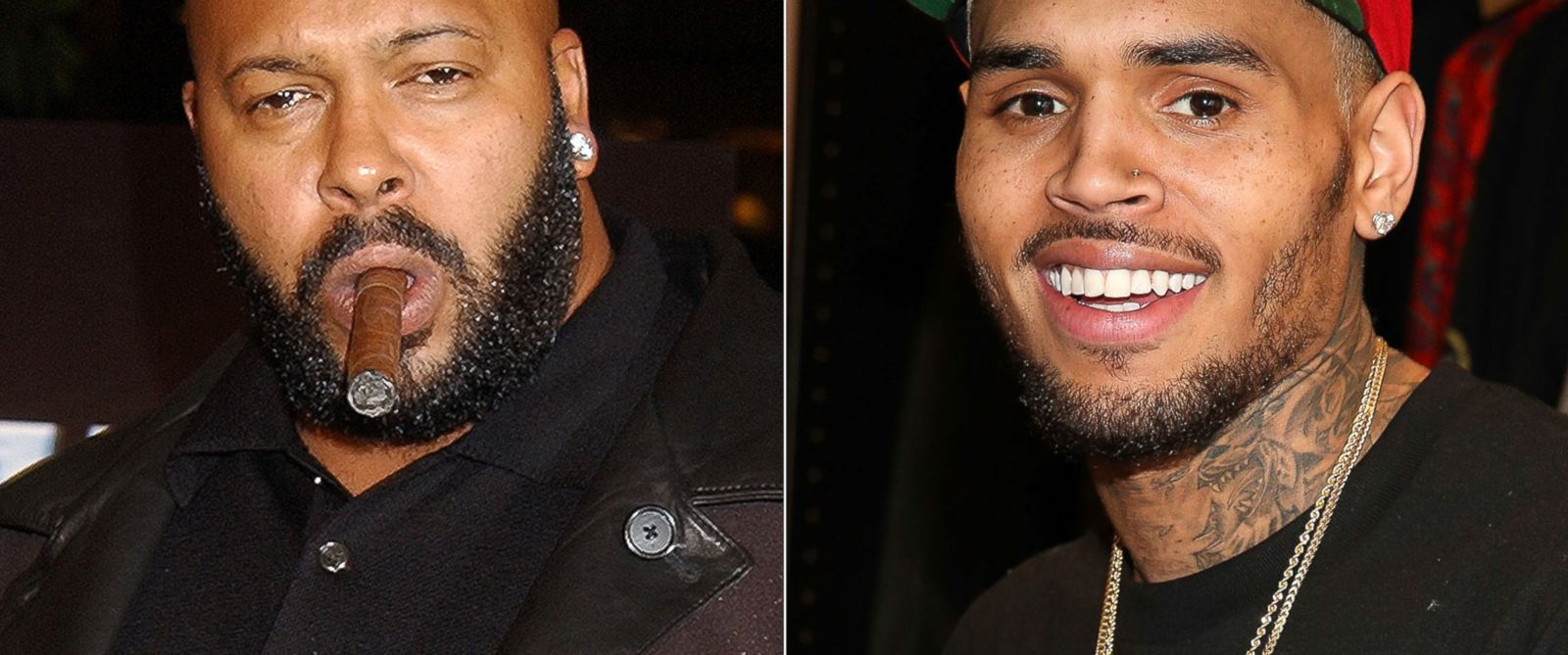 PHOTO: Marion Suge Knight seen on Nov. 7, 2002. | Chris Brown seen on Dec. 22, 2013.