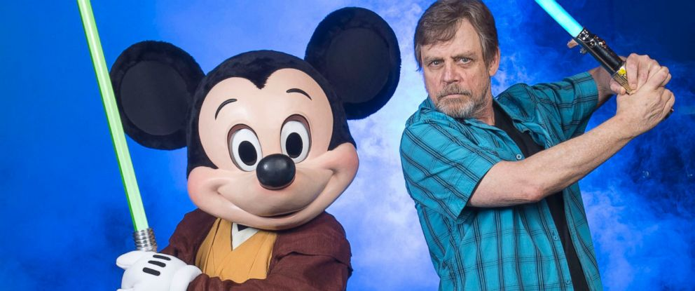 PHOTO: Mark Hamill, who portrayed Luke Skywalker in the Star Wars film saga, poses with Jedi Mickey Mouse at Disneys Hollywood Studios, June 5, 2014 in Lake Buena Vista, Fla.