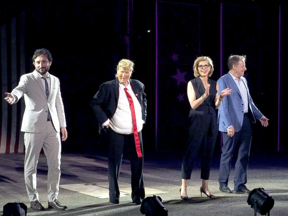 PHOTO: Jeremy McCarter, Meryl Streep, Christine Baranski and Jim Shapiro perform onstage at the 2016 Public Theater Gala at Delacorte Theater, June 6, 2016, in New York City.