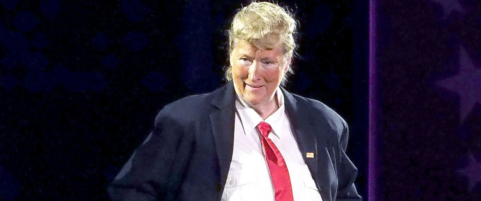 PHOTO: Meryl Streep, dressed as Donald Trump, performs onstage at the 2016 Public Theater Gala at Delacorte Theater, June 6, 2016, in New York City.