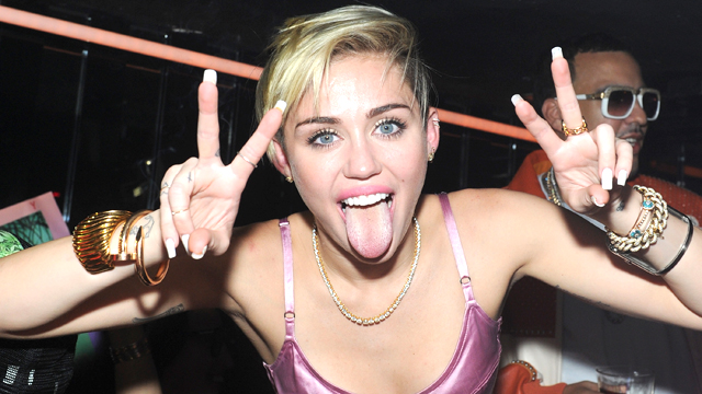 """PHOTO:Miley Cyrus at her album release party for """"Bangerz"""" at The General in New York."""