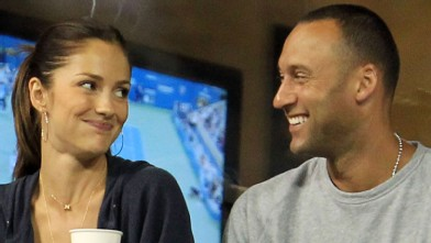 PHOTO: Minka Kelly and Derek Jeter watch as Novak Djokovic of Serbia plays against James Blake of the United States during day six of the 2010 U.S. Open on Sept. 4, 2010.
