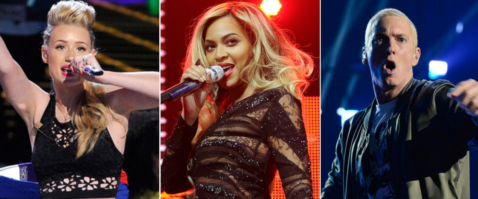 PHOTO: From left, Iggy Azalea, Beyonce Knowles and Eminem