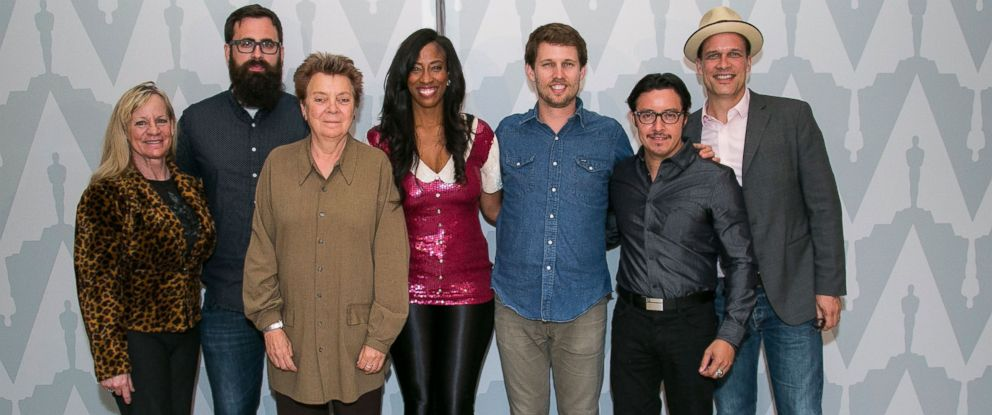 "PHOTO: From left, Carmen Brandy, Jared Hess, Sandy Martin, Shondrella Avery, Jon Heder, Efren Ramirez, and Diedrich Bader attend The Academy of Motion Picture Arts and Sciences 10th Anniversary of ""Napoleon Dynamite"" on June 9, 2014 in Los Angeles."