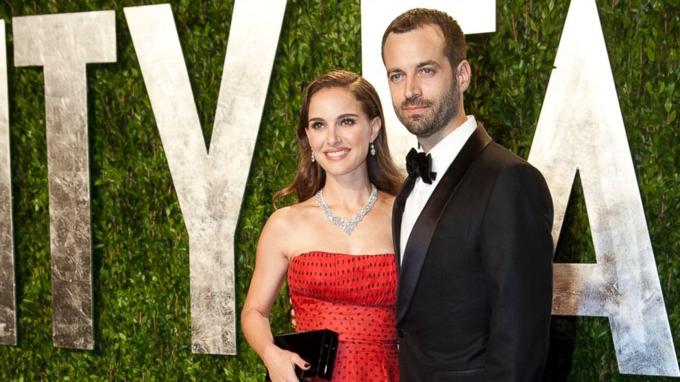 PHOTO: Natalie Portman, left, and husband Benjamin Millepied arrive at the Vanity Fair Oscar Party, for the 84th Annual Academy Awards, at the Sunset Tower on Feb. 26, 2012 in West Hollywood, Calif.