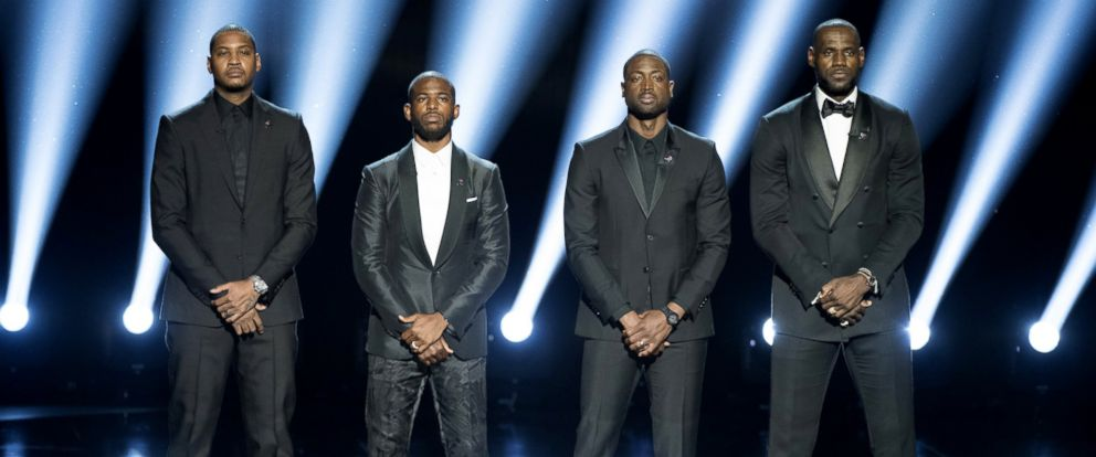 PHOTO: NBA players Carmelo Anthony, Chris Paul, Dwyane Wade and LeBron James speak onstage during the 2016 ESPYS at Microsoft Theater, July 13, 2016, in Los Angeles.