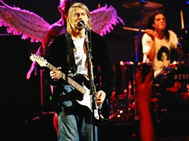 PHOTO: Kurt Cobain and Dave Grohl of Nirvana performing at MTV Live and Loud in Seattle in December of 1993.