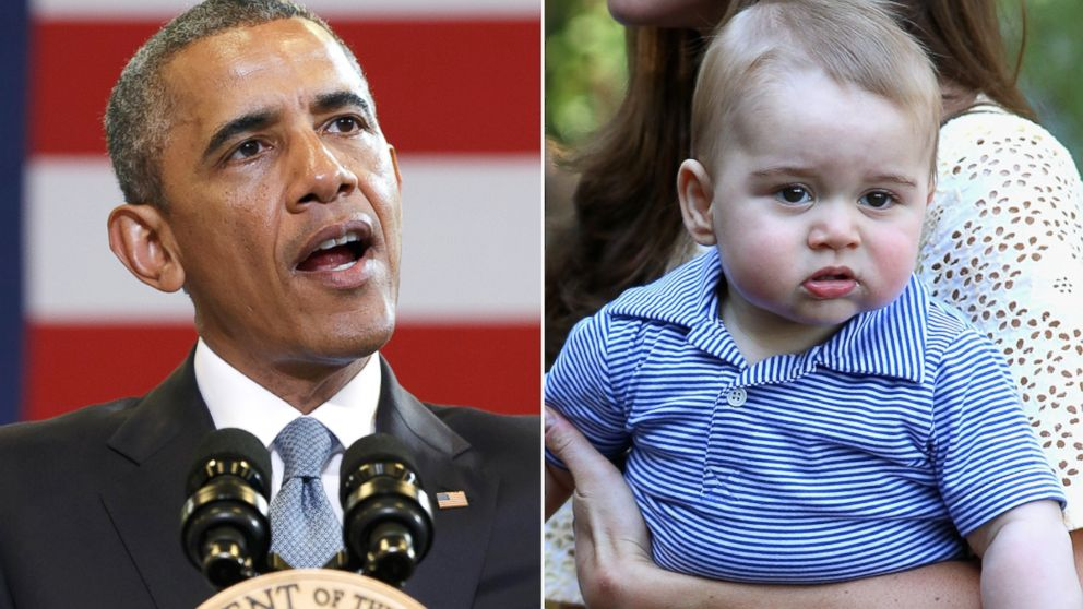 PHOTO: From left, President Barack Obama in Washington, and Prince George in Sydney,