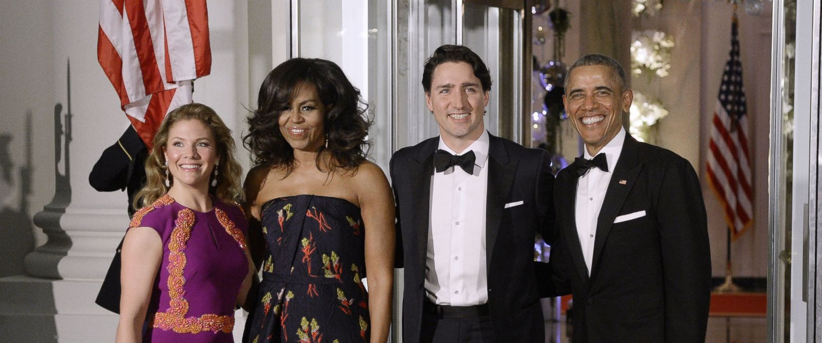 PHOTO: First Lady Sophie Trudeau of Canada, First Lady Michelle Obama, Prime Minister Justin Trudeau of Canada and President Barack Obama pose at the North Portico of the White House, March 10, 2016, in Washington.