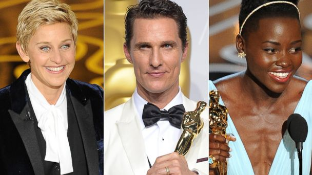 PHOTO: Ellen DeGeneres, left, speaks onstage during the Oscars. Matthew McConaughey, center, celebrates after winning the Best Actor Oscar. Lupita Nyongo, right, accepts the Best Performance by an Actress in a Supporting Role Oscar.