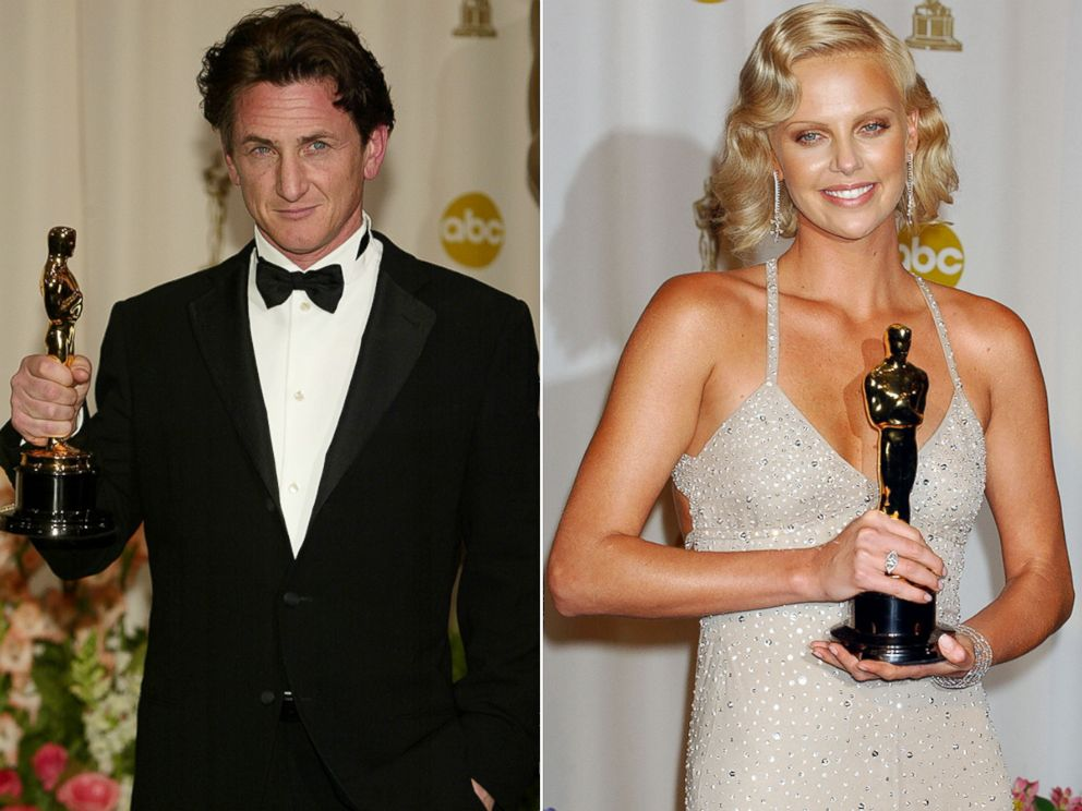 PHOTO: Sean Penn, left, and Charlize Theron win Best Actor and Best Actress Oscars, respectively, at the Academy Awards in Los Angeles, Feb. 29, 2004.