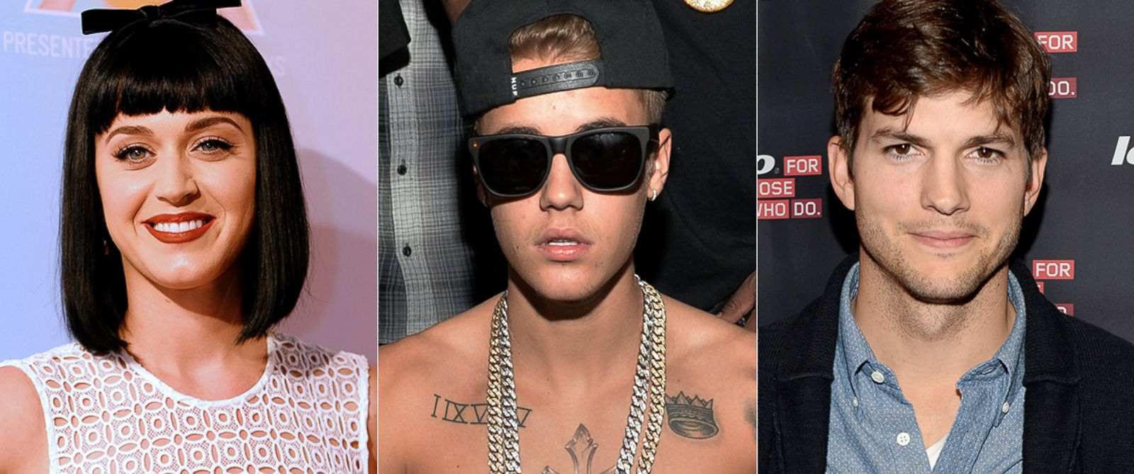 PHOTO: Katy Perry, left, is pictured in Sydney, Australia on March 4, 2014. Justin Bieber, center, is pictured in Atlanta, Ga. on Feb. 5, 2014. Ashton Kutcher, right, is pictured in Los Angeles on Oct. 29, 2013.