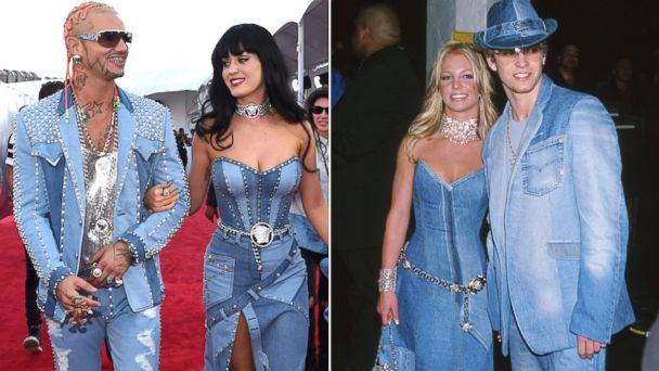GTY perry spears timberlake jef 140824 16x9 608 MTV VMAs 2014: Katy Perry Channels Britney Spears and Justin Timberlake with Denim Versace Dress