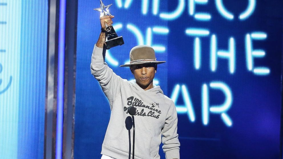 "PHOTO: Pharrell Williams speaks onstage during the ""BET AWARDS"" 14 held at Nokia Theater L.A. LIVE, June 29, 2014, in Los Angeles."