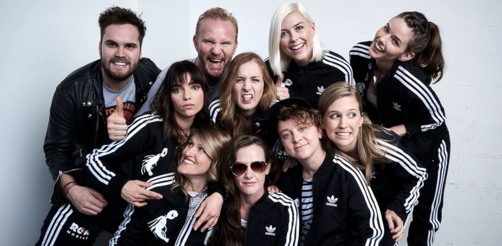 PHOTO: From left, Brent Hodge, Angela Trimbur, Morgan Spurlock, Molly Hawkey, Stephanie Allynne, Maria Blasucci, Jesse Thomas, Paige Grey, Melissa Stetter, and Amanda Lund from The Pistol Shrimps, on April 15, 2016, in New York.