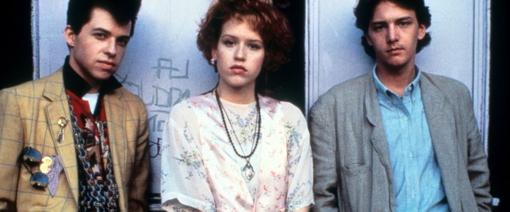 "PHOTO: Jon Cryer, Molly Ringwald and Andrew McCarthy on set of the film ""Pretty In Pink."""