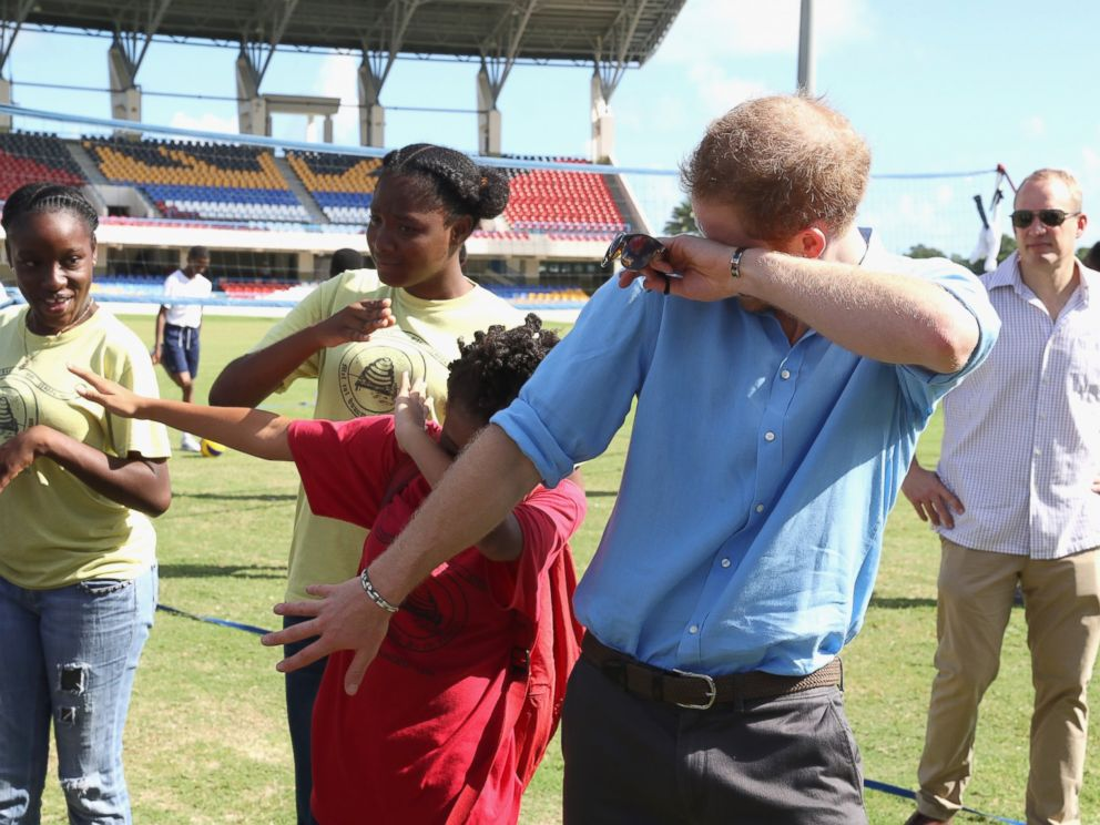 PHOTO: Prince Harry attends a youth sports festival at Sir Vivian Richards Stadium showcasing Antigua and Barbudas national sports, on the second day of an official visit to the Caribbean on Nov. 21, 2016 in Antigua, Antigua and Barbuda.