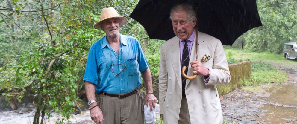 PHOTO: Prince Charles, Prince of Wales (R) and his brother-in-law Mark Shand visit the elephant corridor at Vazhachal Forest Range, Nov. 12, 2013 near Chalakudy in the Thrissur district of Kerala, India.