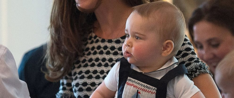 PHOTO: Catherine, Duchess of Cambridge, holds Prince George of Cambridge as they attend Plunketts Parents Group at Government House on April 9, 2014 in Wellington, New Zealand.