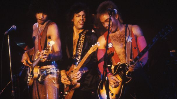 PHOTO: Prince, center, performs with The Revolution bassist Andre Cymone, left, and guitarist Dez Dickerson of at the Bottom Line, Feb. 15, 1980, in New York.
