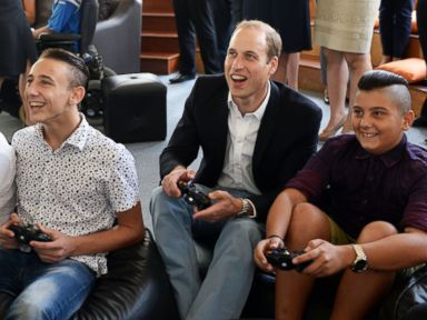 Prince William Plays Video Games with Young People