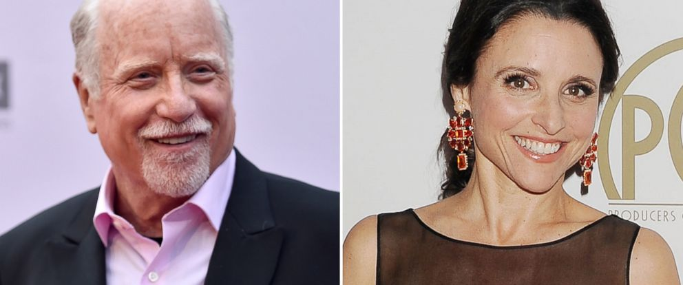 PHOTO: (L-R) Richard Dreyfuss in Hollywood, California, June 9, 2016 and Julia-Louis Dreyfuss in Beverly Hills, California, Jan. 19, 2014.
