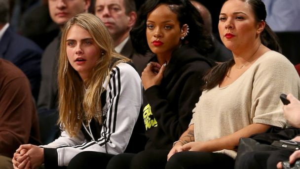 PHOTO: Cara Delevingne and Rihanna attend the game between the Brooklyn Nets and the Atlanta Hawks at the Barclays Center Jan. 6, 2014 in the Brooklyn borough of New York City.