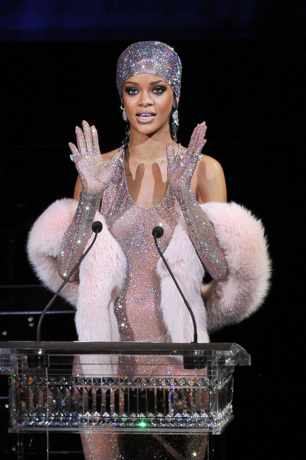 rihanna leaves little to the imagination with sheer dress