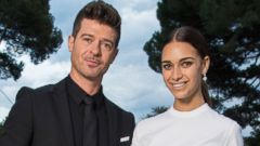 PHOTO: Robin Thicke and April Love Geary are pictured on May 21, 2015 in Cap dAntibes, France.
