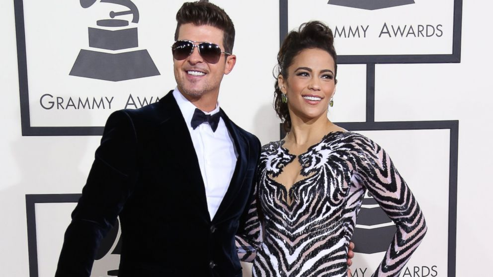 PHOTO: Robin Thicke and Paula Patton arrive at the 56th Annual GRAMMY Awards at Staples Center, Jan. 26, 2014 in Los Angeles.