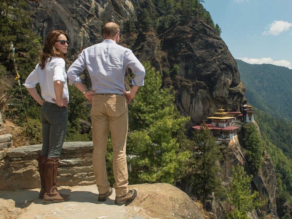 PHOTO: Catherine, Duchess of Cambridge and Prince William, Duke of Cambridge, pose together as they hike to Paro Taktsang, the Tigers Nest monastery, April 15, 2016 in Paro, Bhutan.