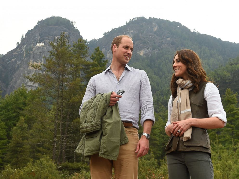PHOTO: Catherine, Duchess of Cambridge and Prince William, Duke of Cambridge, hike to Paro Taktsang, the Tigers Nest monastery, April 15, 2016 in Paro, Bhutan.
