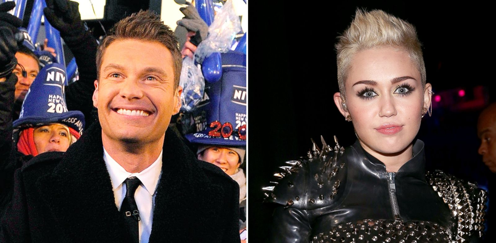 "PHOTO: Ryan Seacrest at Dick Clarks New Years Rockin Eve with Ryan Seacrest 2011 in Times Square on Dec. 31, 2010 in New York. Miley Cyrus attends ""VH1 Divas"" 2012 on Dec. 16, 2012 in Los Angeles."